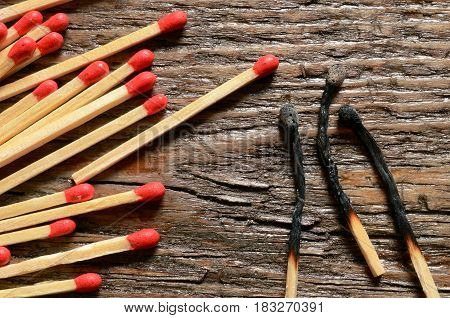 A close up image of several wooden match sticks.