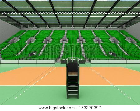 3D Render Of Beautiful Sports Arena For Volleyball With Green Seats And Vip Boxes