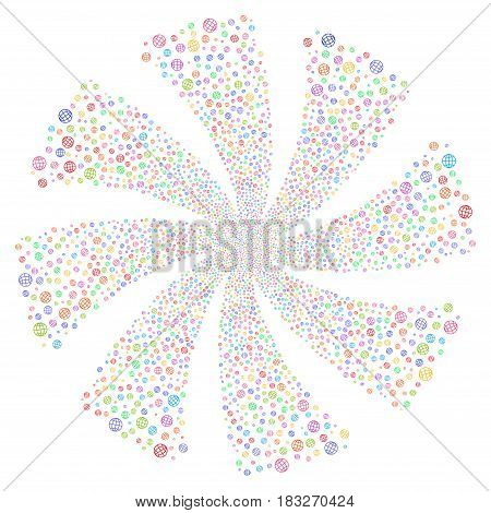 Globe fireworks swirl rotation. Vector illustration style is flat bright multicolored iconic symbols on a white background. Object whirlpool organized from random design elements.