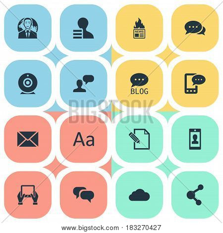 Vector Illustration Set Of Simple Blogging Icons. Elements Notepad, Profile, Gazette And Other Synonyms Discussion, Speech And Hot.