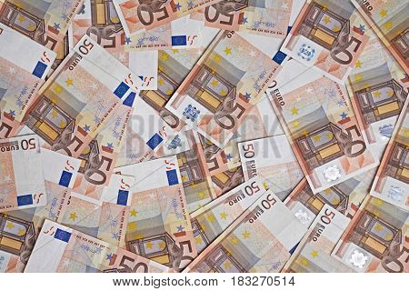 Pile of 50 Euro banknotes