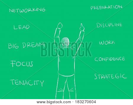 success key illustration with business man raise his hand and with green background clipart