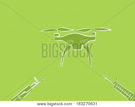 anti drone illustration with rifle pointing to a flying drone clipart