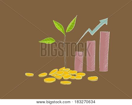 business investment illustration with growth chart and coins clipart
