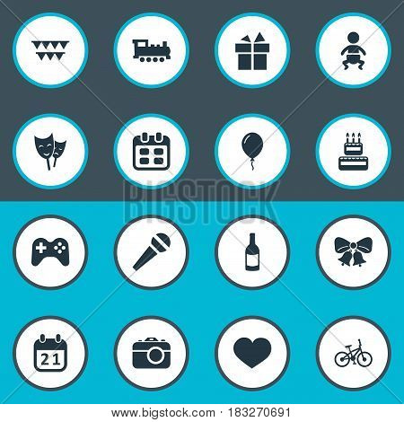 Vector Illustration Set Of Simple Celebration Icons. Elements Soul, Train, Beverage And Other Synonyms Joystick, Actor And Speech.