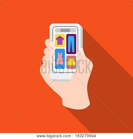 Mobile shopping online icon in flat style isolated on white background. E-commerce symbol vector illustration.
