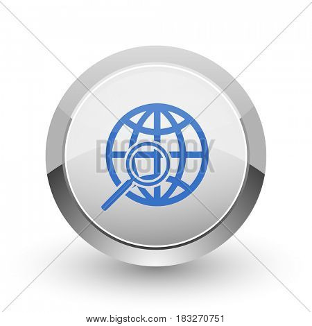 Search chrome border web and smartphone apps design round glossy icon.