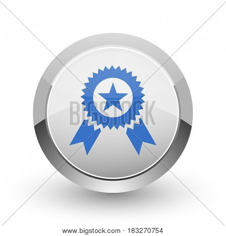 Award chrome border web and smartphone apps design round glossy icon.