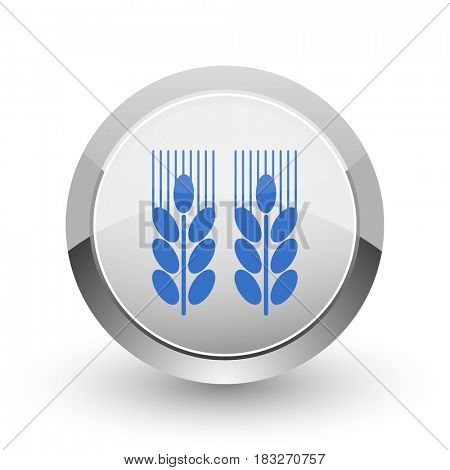 Agricultural chrome border web and smartphone apps design round glossy icon.