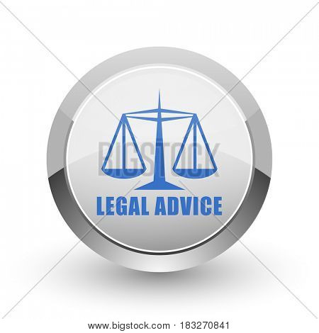 Legal advice chrome border web and smartphone apps design round glossy icon.