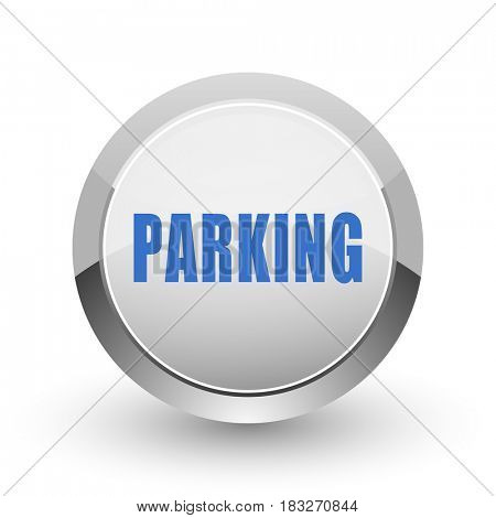 Parking chrome border web and smartphone apps design round glossy icon.