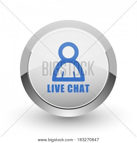 Live chat chrome border web and smartphone apps design round glossy icon.