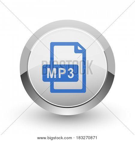 Mp3 file chrome border web and smartphone apps design round glossy icon.
