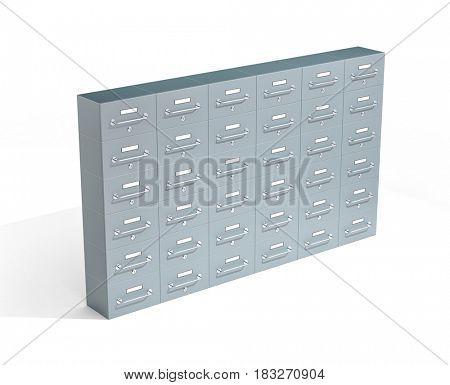 Safe deposit boxes on white background. 3d illustration