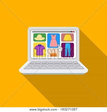 Online shopping icon in flat style isolated on white background. E-commerce symbol vector illustration.