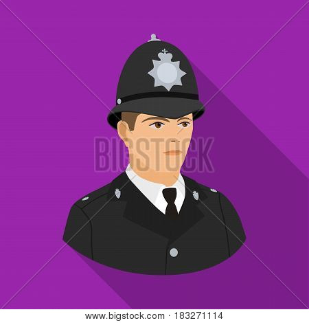 English policeman icon in flat style isolated on white background. England country symbol vector illustration.