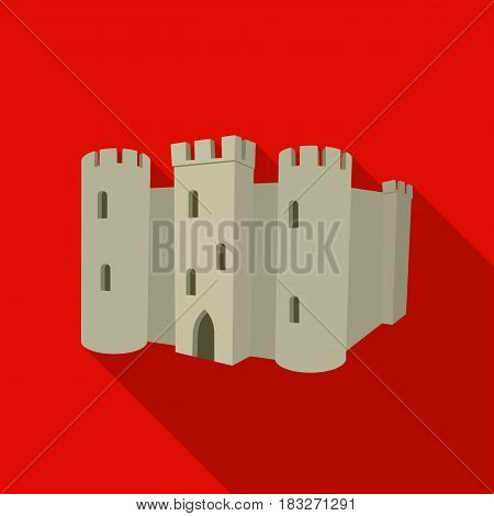 English castle icon in flat style isolated on white background. England country symbol vector illustration.