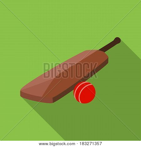Cricket bat and ball icon in flat style isolated on white background. England country symbol vector illustration.