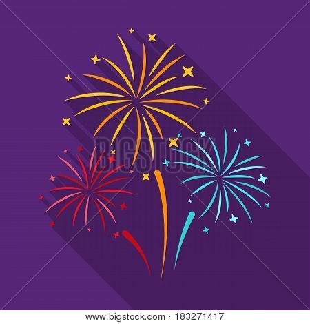 Colorful fireworks icon in flat style isolated on white background. Event service symbol vector illustration.