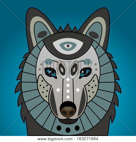 Decorated head of wolf. Print on t-shirt mythical totem animal, mascot, tattoo. Vector illustration.