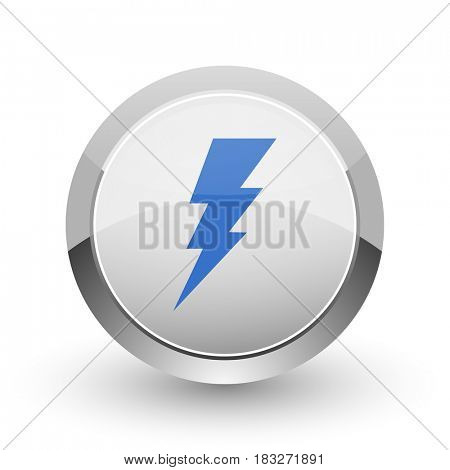 Bolt chrome border web and smartphone apps design round glossy icon.