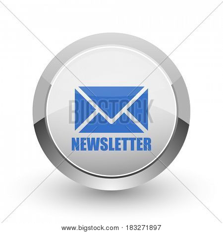 Newsletter chrome border web and smartphone apps design round glossy icon.