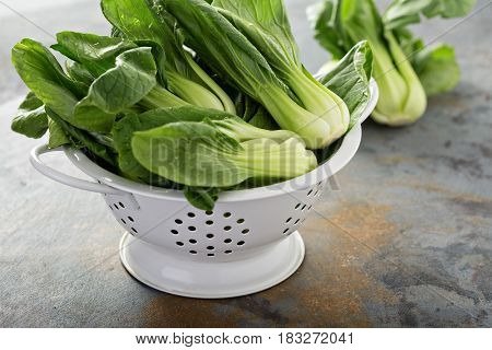 Fresh washed baby bok choy in a colander