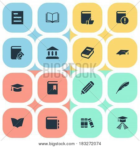 Vector Illustration Set Of Simple Reading Icons. Elements Library, Reading, Bookshelf And Other Synonyms Bookmark, Textbook And Academy.