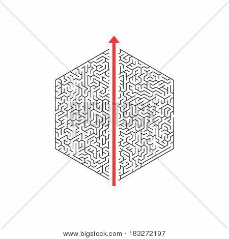 Illustration of Vector Maze Labyrinth. Greek Puzzle Challenge with Solution. Maze with Straight Way In