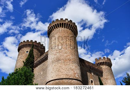 Ancient medieval and renaissance three towers of fortress Rocca Pia in the center of Tivoli near Rome