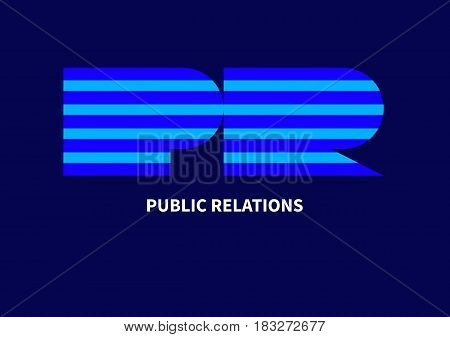 Striped letters pr. Blue icon, logo public relations with stripes. Vector illustration.