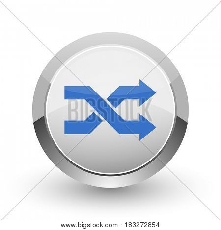 Aleatory chrome border web and smartphone apps design round glossy icon.