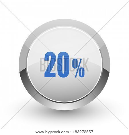 20 percent chrome border web and smartphone apps design round glossy icon.