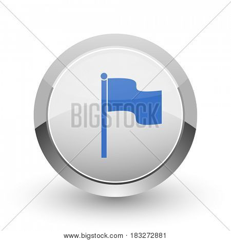 Flag chrome border web and smartphone apps design round glossy icon.