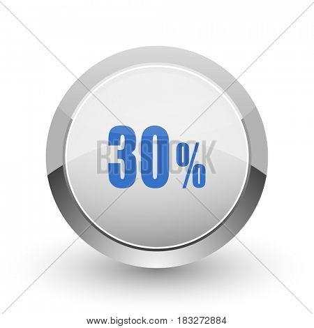 30 percent chrome border web and smartphone apps design round glossy icon.