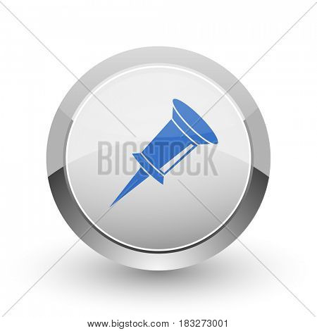 Pin chrome border web and smartphone apps design round glossy icon.