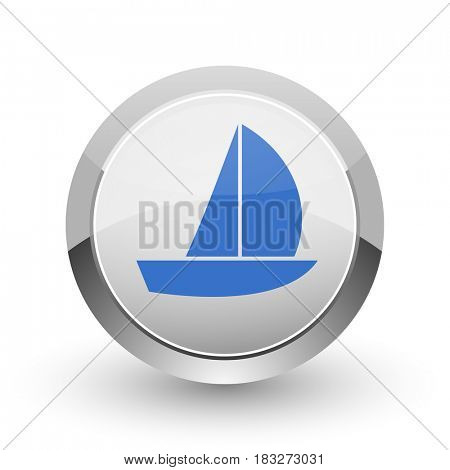 Yacht chrome border web and smartphone apps design round glossy icon.