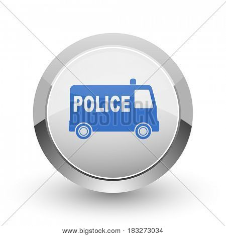 Police chrome border web and smartphone apps design round glossy icon.