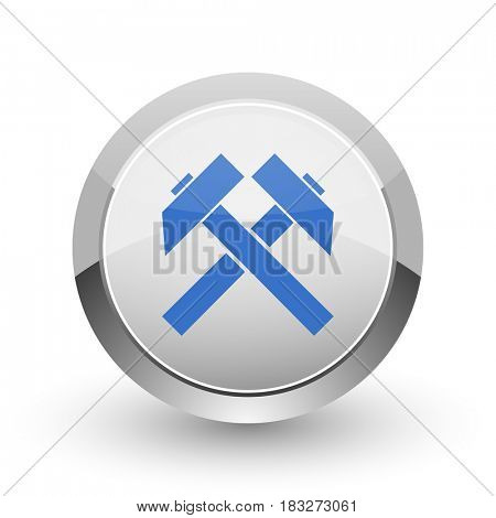 Mining chrome border web and smartphone apps design round glossy icon.