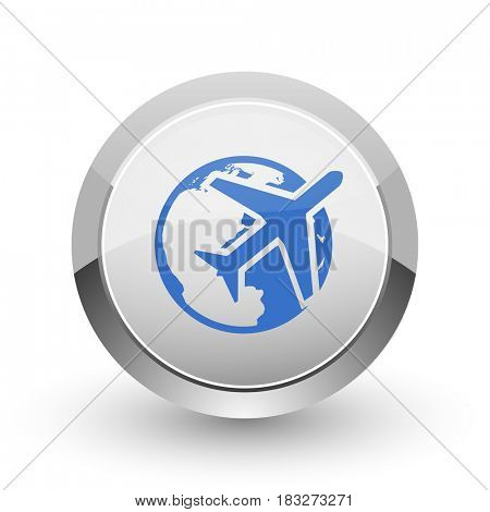 Travel chrome border web and smartphone apps design round glossy icon.
