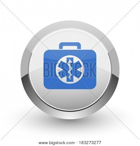 Rescue kit chrome border web and smartphone apps design round glossy icon.