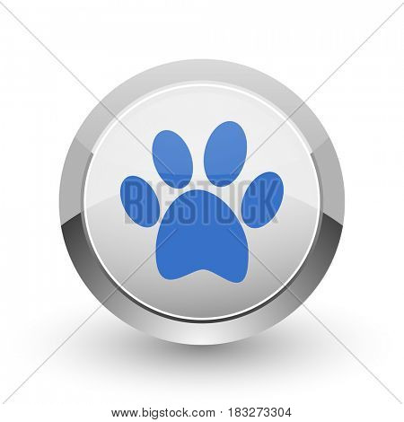 Foot chrome border web and smartphone apps design round glossy icon.