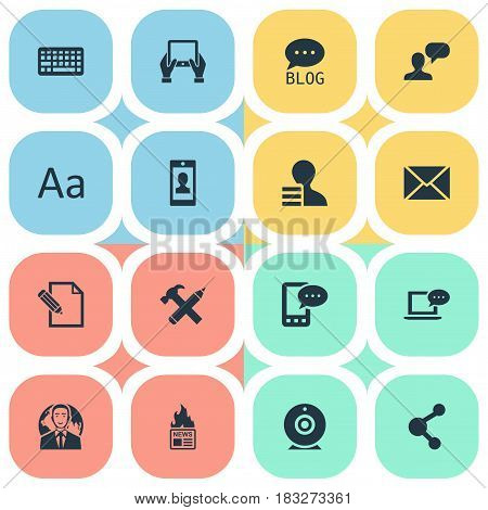 Vector Illustration Set Of Simple User Icons. Elements Document, Profile, Repair And Other Synonyms Coming, Network And Smartphone.