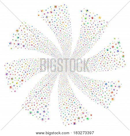 Mite fireworks swirl rotation. Vector illustration style is flat bright multicolored iconic symbols on a white background. Object whirl made from random icons.