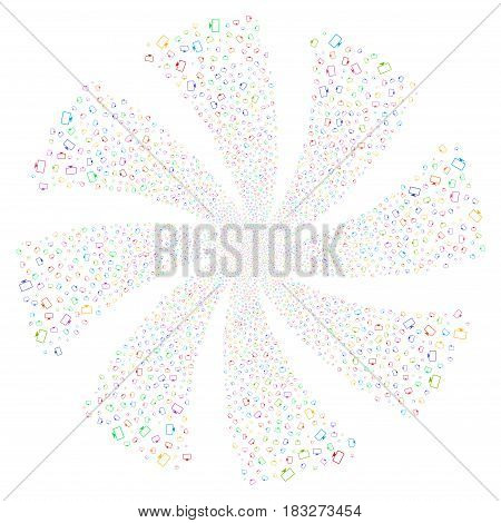 Monitor fireworks swirl rotation. Vector illustration style is flat bright multicolored iconic symbols on a white background. Object whirlpool combined from random design elements.
