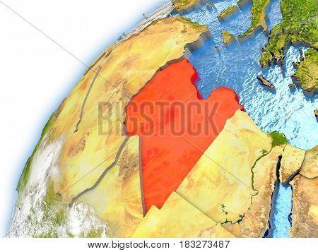 Libya On Model Of Planet Earth