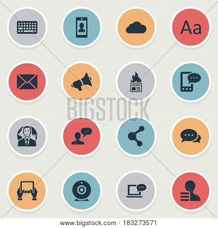 Vector Illustration Set Of Simple Blogging Icons. Elements Laptop, Man Considering, Overcast And Other Synonyms Smartphone, Phone And Epistle.