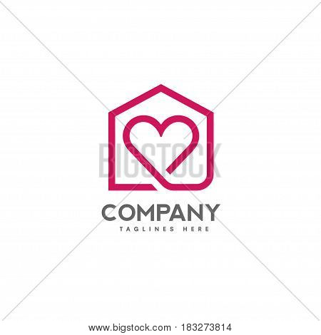 house and heart logo vector. home care logo vector, Heart love, love home family logo , royalty. Realty logo, mortgage.
