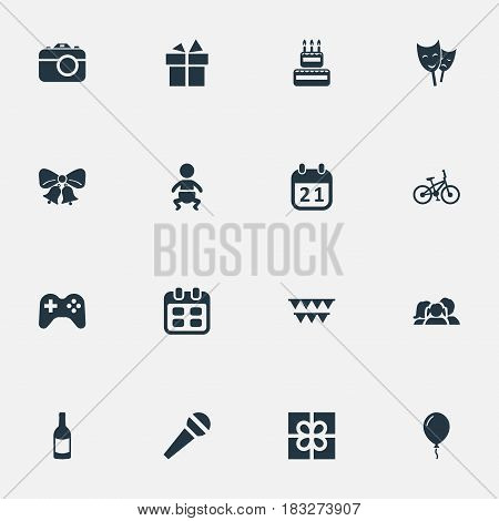 Vector Illustration Set Of Simple Celebration Icons. Elements Beverage, Special Day, Game And Other Synonyms Game, Party And Fizz.