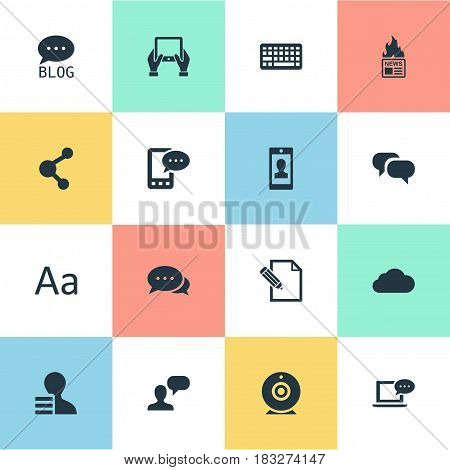 Vector Illustration Set Of Simple User Icons. Elements Argument, Gain, Keypad And Other Synonyms Camera, Laptop And Relation.